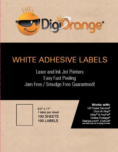 DigiOrange Full Sheet Labels 100 White Laser & Inkjet Labels 8.5″ x 11″ One Label Per Sheet