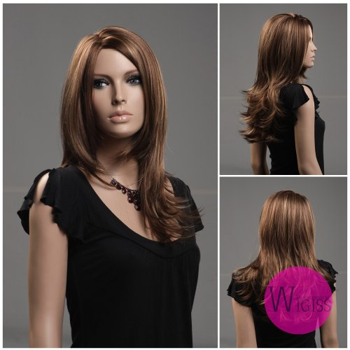 Stylish Women & Girls Sexy Long Straight Fashion Wig Hair High Quality Natural as Real Hair Wig Brown + Wig Cap