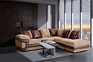 Texas Brown Corduroy & Leather Corner Group Large Sofa Suite