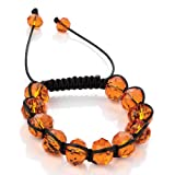 Minerva Collection Glass Bead Shamballa Fashion Bracelet Orange