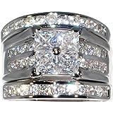 Contemporary 2.46 Ct. Cubic Zirconia Cz Platinum Plated 3 Pc. Engagement Bridal Wedding Ring Set