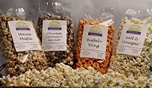 Coastal Maine Popcorn - Maine Maple Salt Vinegar Buffalo Wing Chocolate Caramel Sea Salt 5-6 Cups Ea from Coastal Maine Popcorn Co.