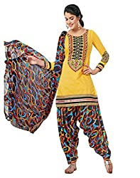 Inddus Exclusive Women Yellow Chanderi Unstiched Dress Material
