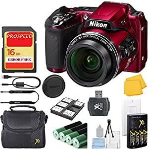 Nikon COOLPIX L840 Digital Camera Bundle with 38x Optical Zoom and Built-In Wi-Fi Red (WHITE BOX PACKAGING, NEW CAMERA) + Camera Case + 6pc Starter Kit + ProSpeed 16GB Memory + Reader + Charger