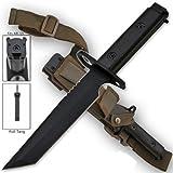 AR-15 / M16 Bayonet HEAVY DUTY Black FULL TANG TANTO Blade 1/4