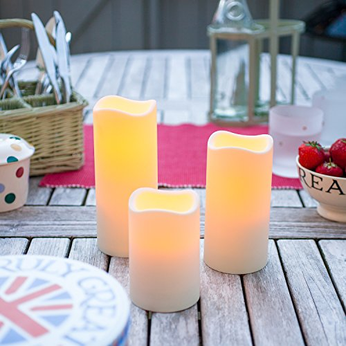 Medium Outdoor Battery Operated LED Candle with 6 Hour Timer by Lights4fun