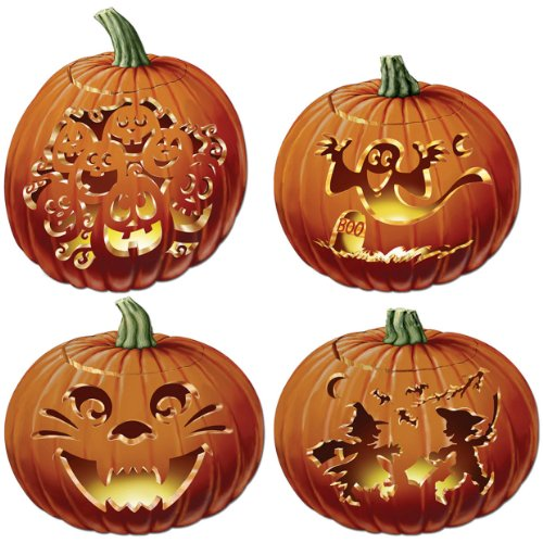 Beistle 4-Pack Packaged Carved Pumpkin Cutouts, 14-Inch