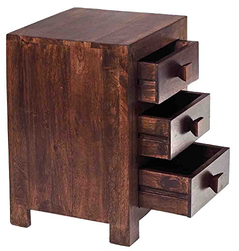 Indian Hub 3 Drawer Bedside Table (Brown)