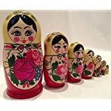 """7 pcs/ 7"""" Large Semenov Wooden Russian Nesting Dolls Matryoshka"""