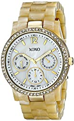 XOXO Women's XO5521 Plastic Horn Bracelet with Rhinestones on Gold Case Watch