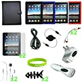 "CrazyOnDigital Accessories Case Cover with Charger and Screen Protector for ""The New iPad"" 3rd Gen 2012 Model & Apple iPad 2 / iPad 3 3rd Generation / iPad HD AT&T Verizon 4G LTE (18-item) ~ CrazyOnDigital"