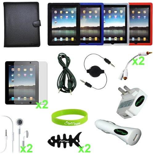 CrazyOnDigital Full 18 items Accessories Case Charger Screen Protector for Apple iPad 2 iPad2 2nd Generation 16GB 32GB 64GB 3G Wifi