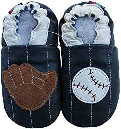 Carozoo Baby Boys\' Baseball Soft Sole Leather Shoes blue (4-5 years)