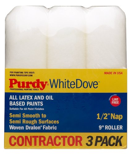 Purdy 140864000 White Dove Multi-Packs 9-Inch x 1/2-Inch Nap Roller Cover, 3-Pack