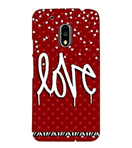 LOVE QUOTE IN A RED BACK GROUND 3D Hard Polycarbonate Designer Back Case Cover for Motorola Moto G4 Plus