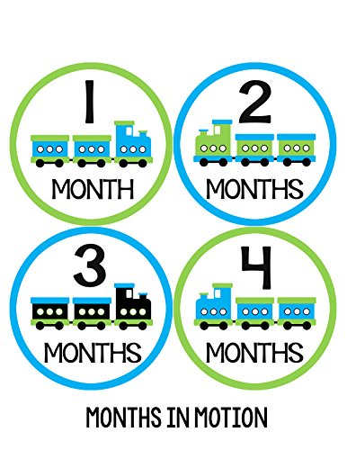 Months in Motion 043 Monthly Baby Stickers Boy Trains Month 1-12 Milestone