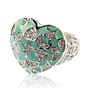 Designer Inspired Turquoise, Silver Crystal Heart Ring Size 8 Fashion Jewelry