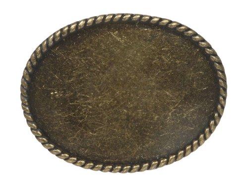 BELTISCOOL Western Plain Oval Hammered Vintage Belt Buckle Color: Antic Brass