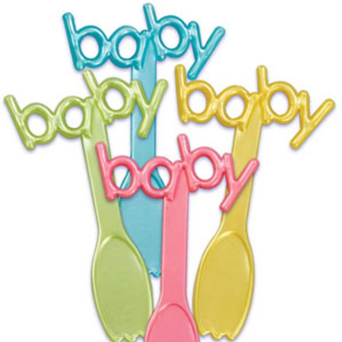 Dress My Cupcake Dmc41B-810 12-Pack Baby Signs Spoon Pick Decorative Cake Topper, Baby Shower, Assorted front-153614