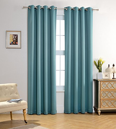 MYSKY HOME Solid Grommet Top Thermal Insulated Window Blackout Curtain For  Bedroom (1 Panel)