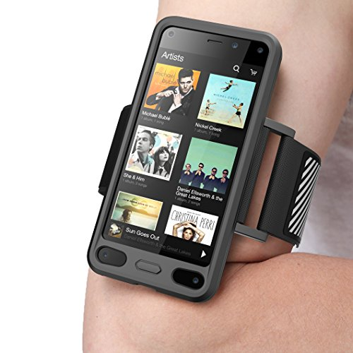 SUPCASE Easy Fitting Sport Running Armband for Amazon Fire Phone with Premium Flexible Case (Black) (Amazon Phone Armband compare prices)