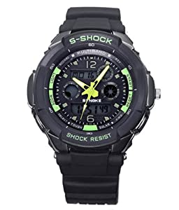 Felix Men's Sport Watch Analogue Digital Black Dial Black Silicone Strap Swimming Green Hands Watch 2 Time Zone Cool Gift SNK67316GB