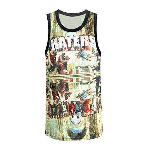Retro Men'S Sleeveless Vest Hip Hop Cool Tee Religious Print Breathable T-Shirt