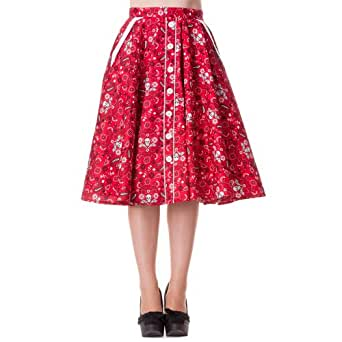 Hell Bunny Rock BANDANA 50'S Skirt red Rot XS
