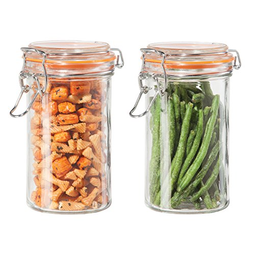 2 Pc. Airtight Glass Canister Set with Clamp Lids & Silicone Gaskets, 17 Oz. (Glass Clamp Lid compare prices)
