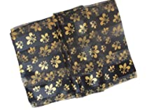Black & Gold Fleur de Lis Satin Stripe Oblong Scarf/ Sash Belt / Headband