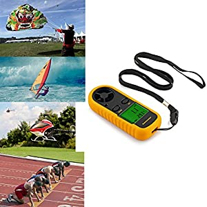 Anemometer Proster Digital LCD Wind Speed Meter Gauge Air Flow Velocity Measurement Thermometer with Backlight for Windsurfing Kite Flying Sailing Surfing Fishing Etc from Proster Trading Limited