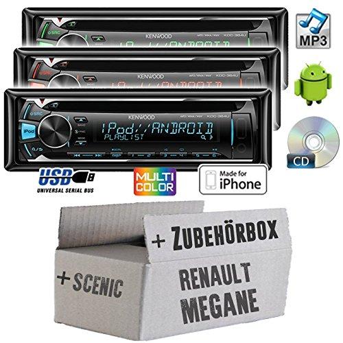 Renault Megane & Scenic 2 - Kenwood KDC-364U - CD/MP3/USB Autoradio - Einbauset