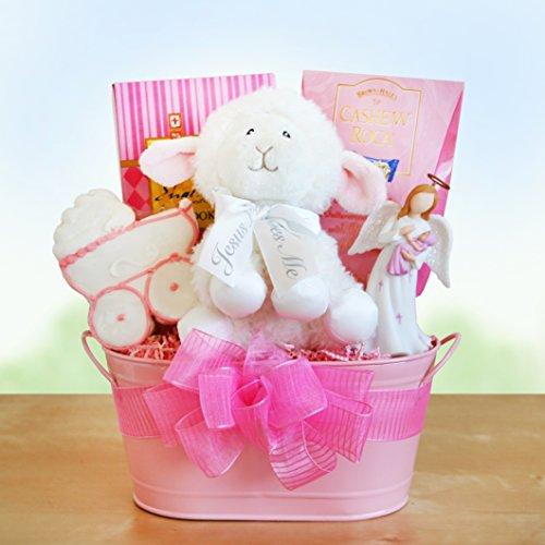 Girl Christening Blessings Gift Basket front-1058318