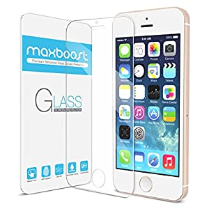 iPhone 5S Screen Protector, iPhone 5 Screen Protector - Maxboost® iPhone 5S 5 5C Glass Screen Protector - [Tempered Glass] World's Thinnest Ballistics Glass, 99% Touch-screen Accurate, Round Edge [0.2mm] Ultra-clear Casings Glass Screen Protector Perfect Fit for Apple iPhone 5 / 5S / 5C Case Maximum Screen Protection from Bumps, Drops, Scrapes, and Marks (Lifetime No-Hassle Warranty)