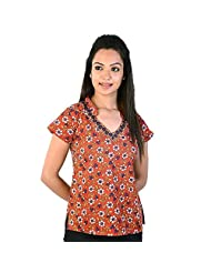 Jaipur RagaFloral Design Laced Indian Orange Cotton Top Orange Cotton Kurti
