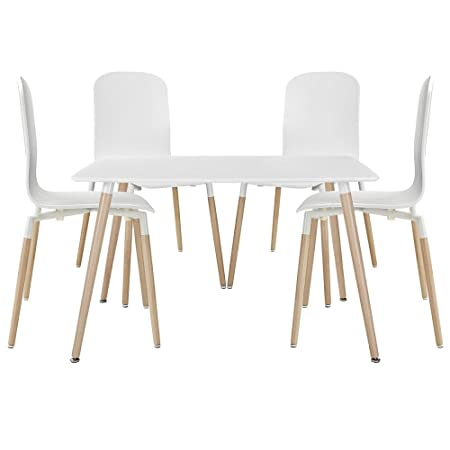 White Simple Dining Chairs Table Set of Five FMP251244