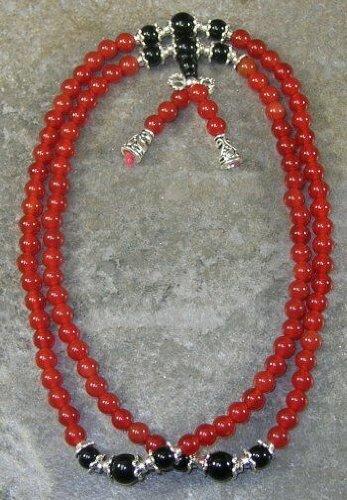 6mm Carnelian & Onyx 27 inch Buddhist Mala Prayer Beads - 108 Beads
