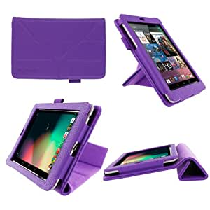 rooCASE Origami Dual-View (Purple) Vegan Leather Folio Case Cover for Google Nexus 7 Tablet (NOT Compatible with 2013 Nexus 7 2 FHD)