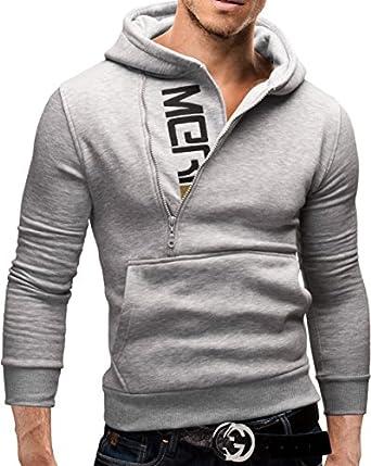 MERISH Kapuzenpullover Pullover Slim Fit Sweatshirt 08 Grau S