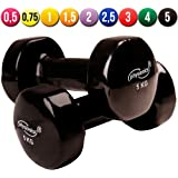 Physionics Vinyl Dumbbells (1 Pair) Weight Set for Ladies Fitness Body Toning Pilates