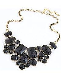 Aadalika Gem Crystal Black Choker Charm Necklace And Pendant For Women