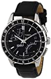 Timex Intelligent Quartz Men's Watch, SL Series Flyback Chronograph, Black Dial, Black Leather Strap - T2N495