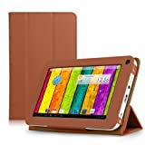 ProntoTec Ultra Slim Lightweight Smart-shell Stand Leather Case Cover for 7 Inch ProntoTec A20 Android Tablet(Brown)