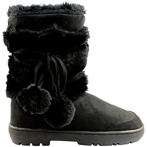 Womens Pom Pom Completamente allineato pelliccia invernale impermeabile Snow Boots - Nero - 6