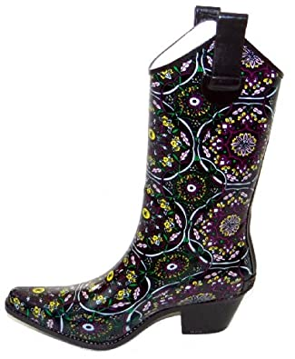 Corkys Rodeo Rain Boots for Women,6 B(M) US,Rodeo Brown/Pink Flower