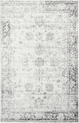 Gray 4' 11 x 8' FT Canterbury Rug Modern Traditional Vintage Inspired Overdyed Area Rugs