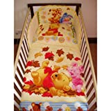 Disney Winnie the Pooh and the Blustery Bedding Set with Duvet & Pillow for Cot or Cotbed (Cot - 120 x 60cm)