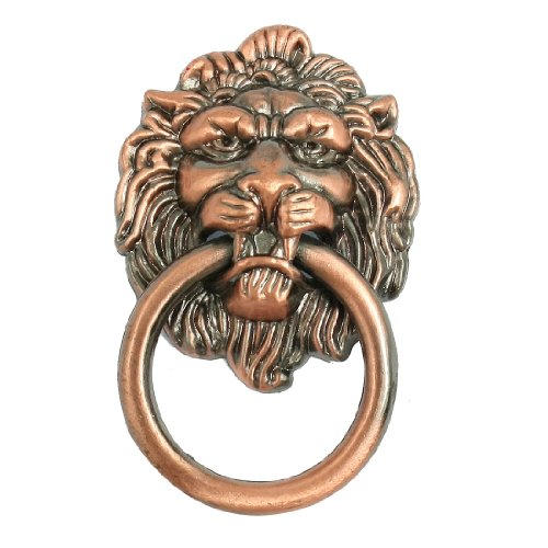 "uxcell® Antique Style Copper Tone Lion Head Shaped Drawer Pull Handle 2.5"" - 1"