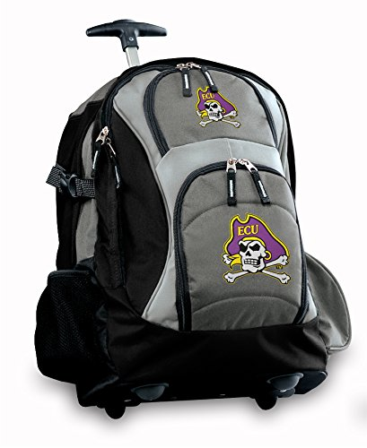 Ecu Logo Rolling Backpack Deluxe Gray East Carolina University Pirates Best Bac
