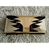 Women Leather Trifold Wallet Clutch Black and Gold Oversized Genuine Leather Chain